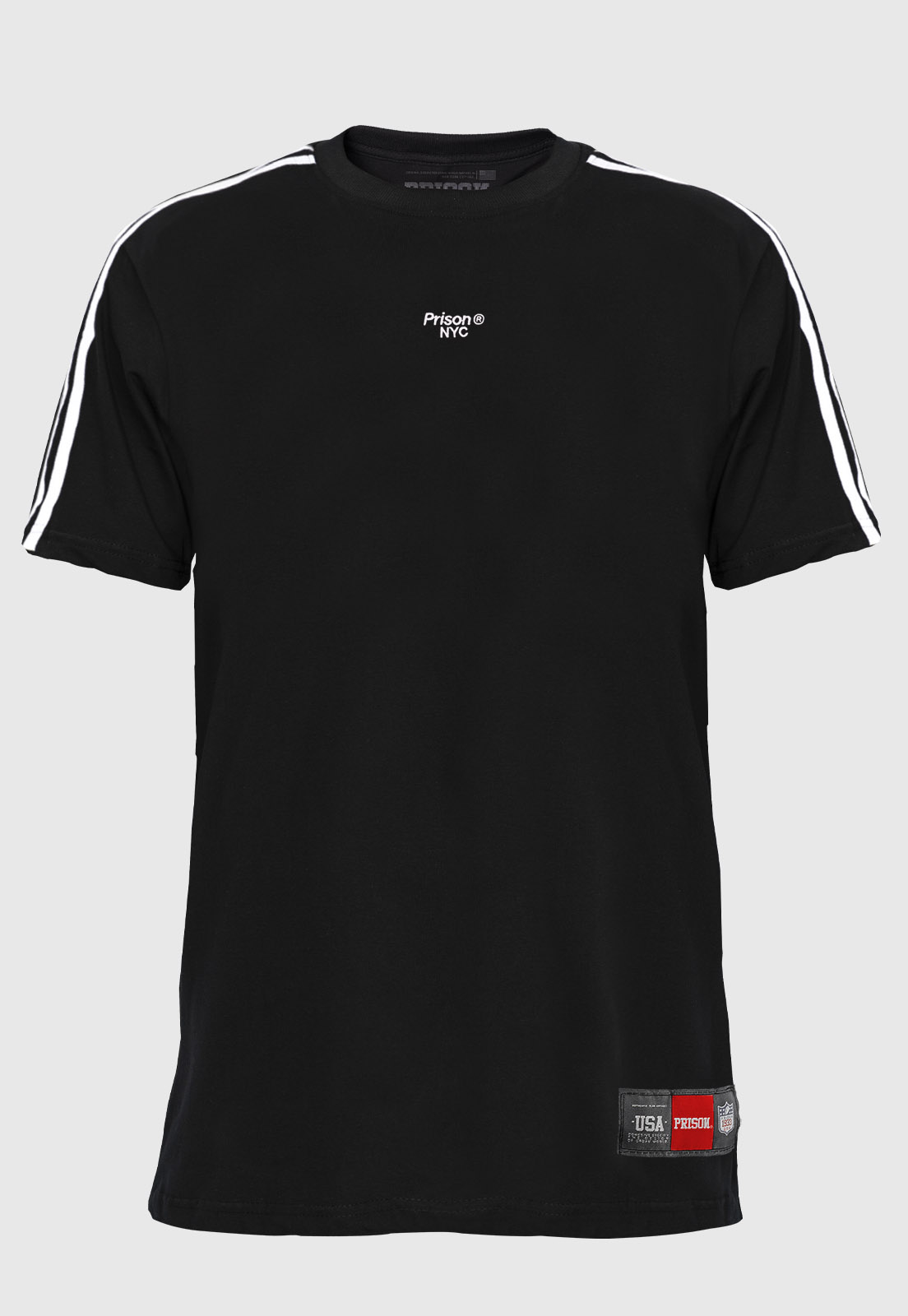 Camiseta Prison NYC Double Listrada Preta