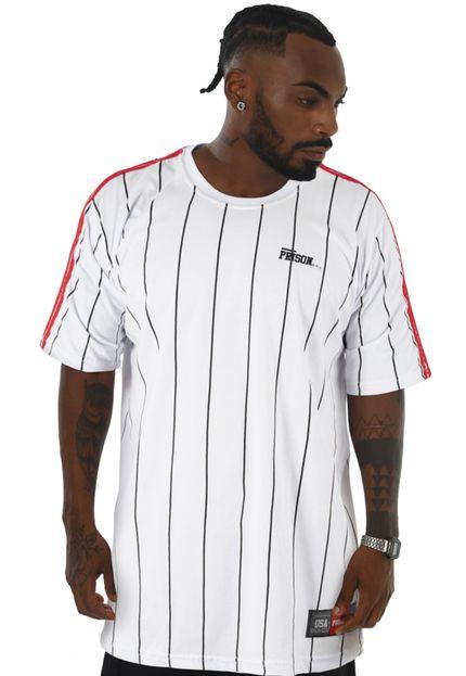 Camiseta Listrada Prison Originals Vertical Branca