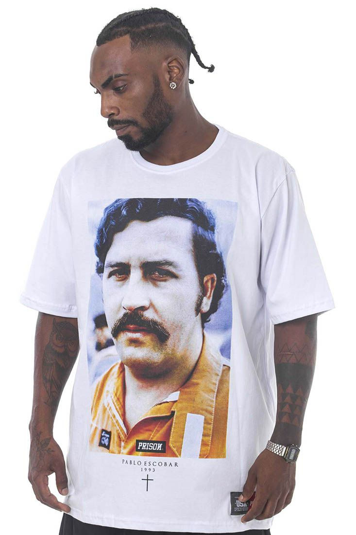 Camiseta Prison Pablo Escobar Branca