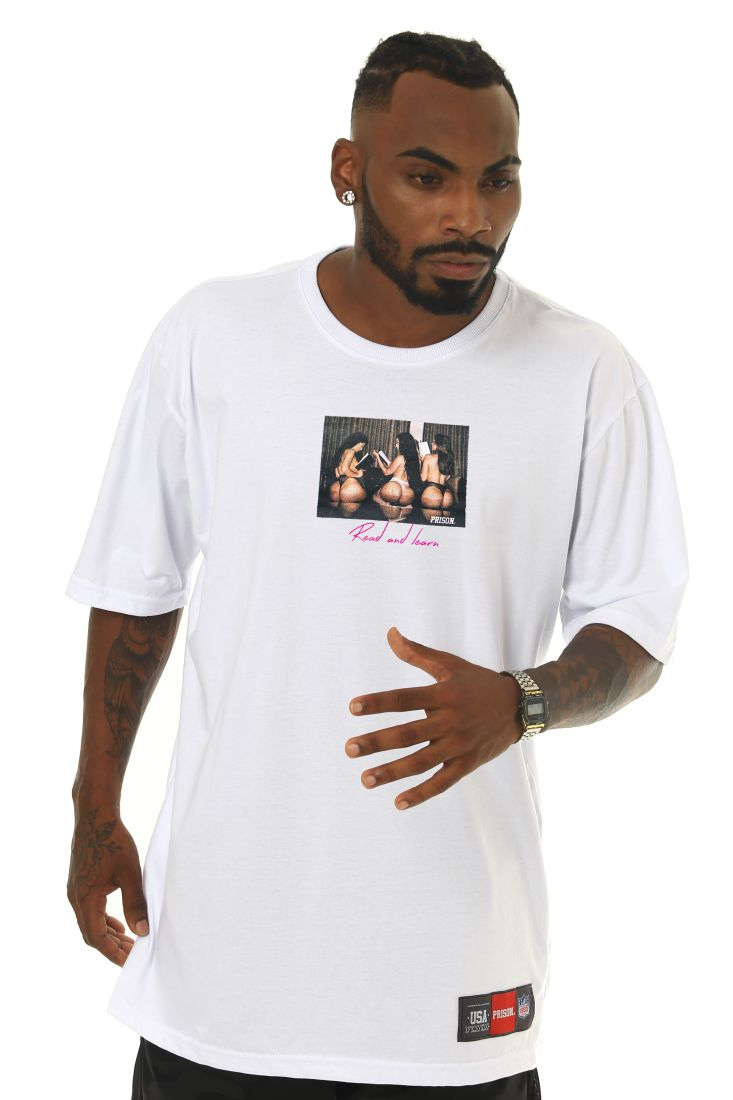 Camiseta Prison Read and Learn Branca