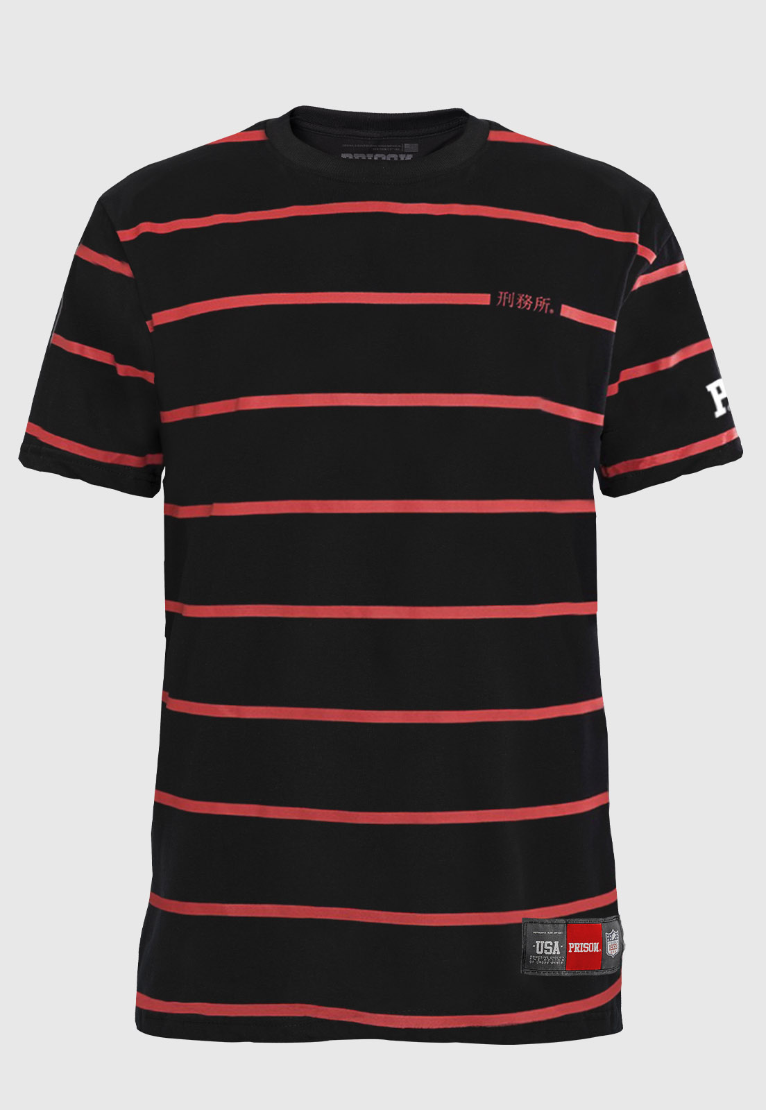 Camiseta Listrada Prison Red Line
