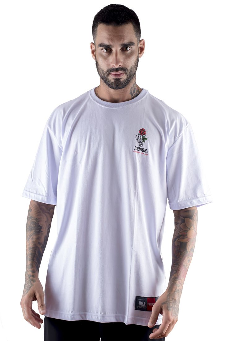 Camiseta Prison Simple Rose branca