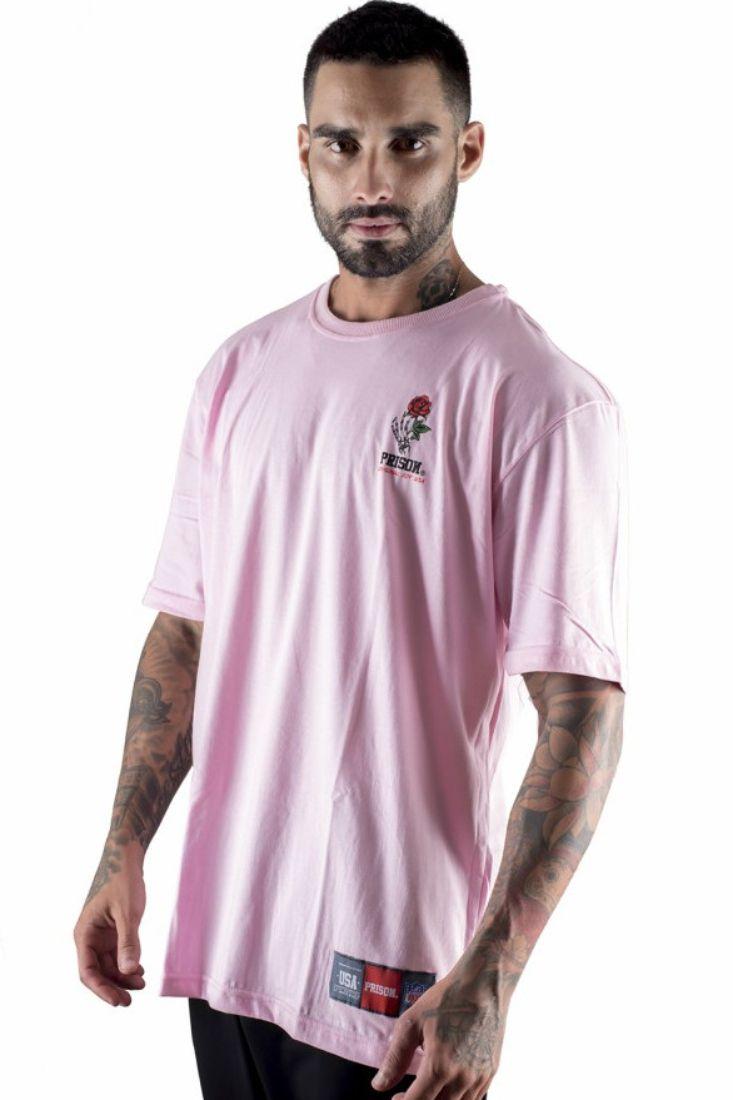 Camiseta Prison Streetwear Basic Rose Rosa