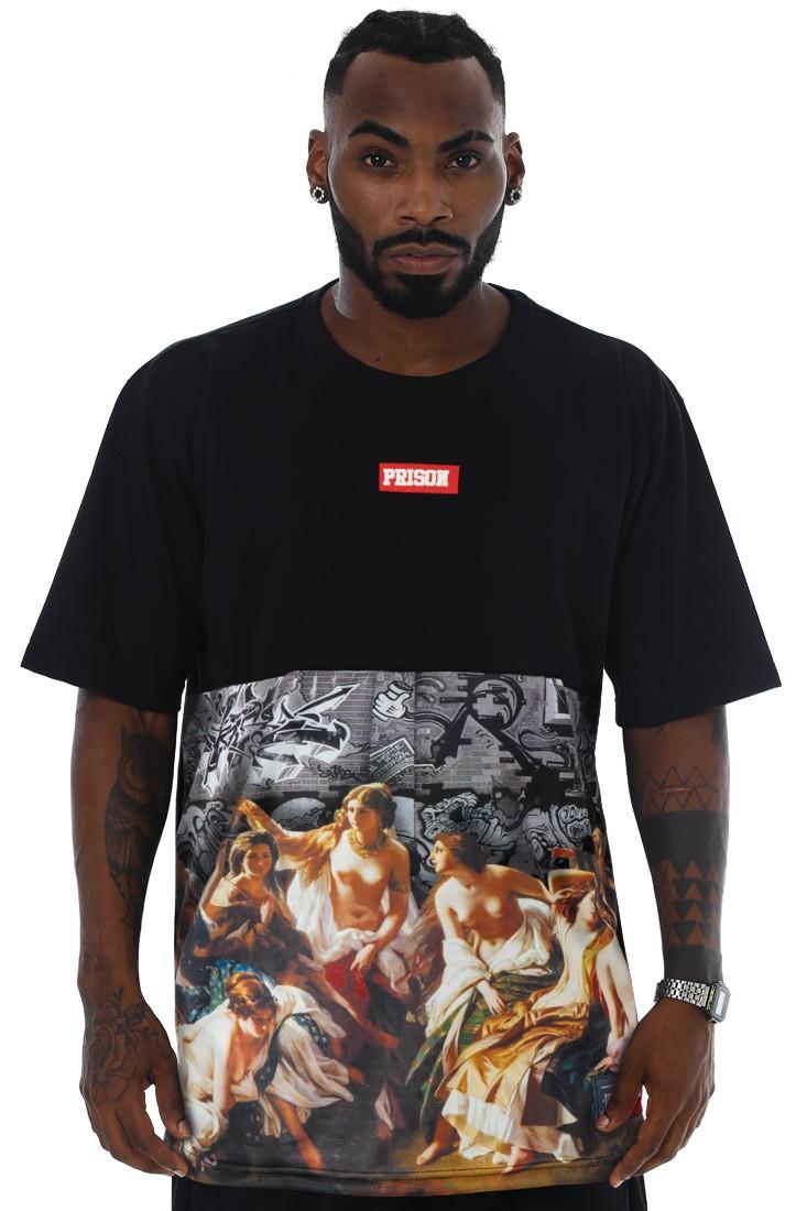 Camiseta Prison Streetwear Graffiti Preta