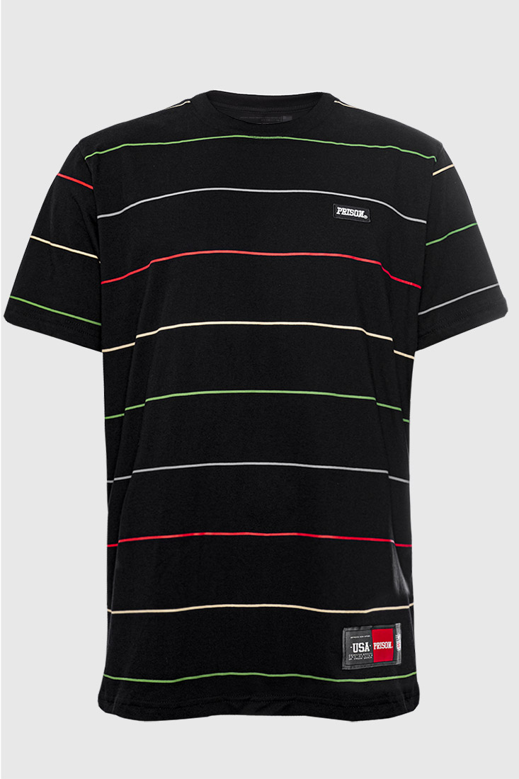 Camiseta Listrada Bordada Prison Stripe Colors