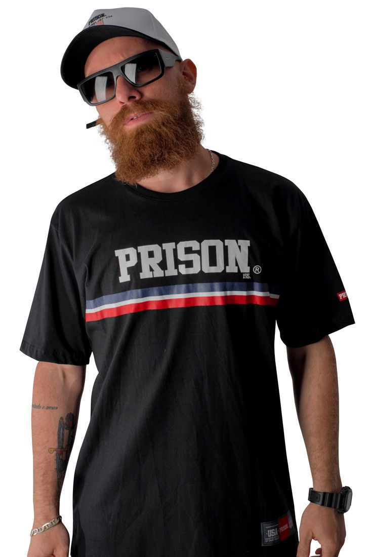 Camiseta Prison Stripes Preta