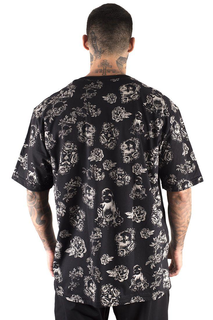 Camiseta Prison Thug and Flower Preta