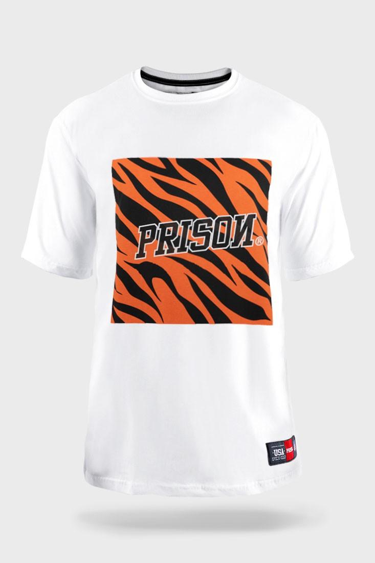 Camiseta Streetwear Prison Tiger Branca