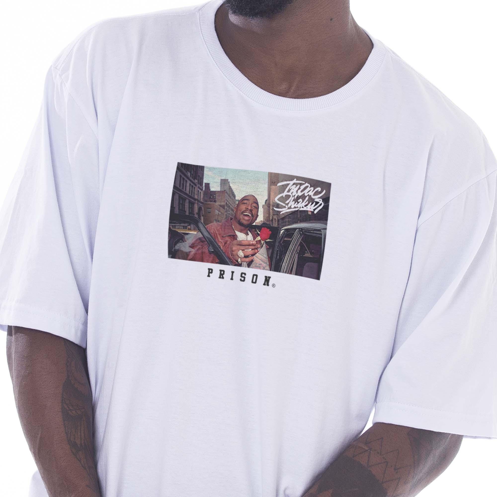 Camiseta Prison Tupac Branca