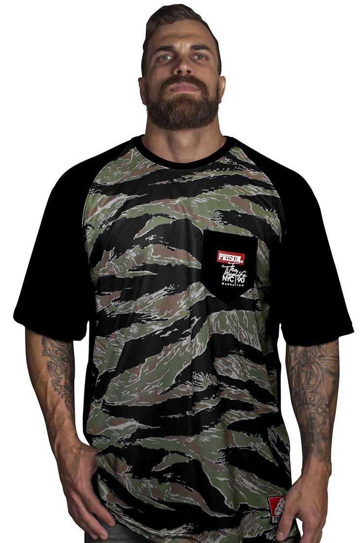 Camiseta Raglan Camuflada Viatnã Prison