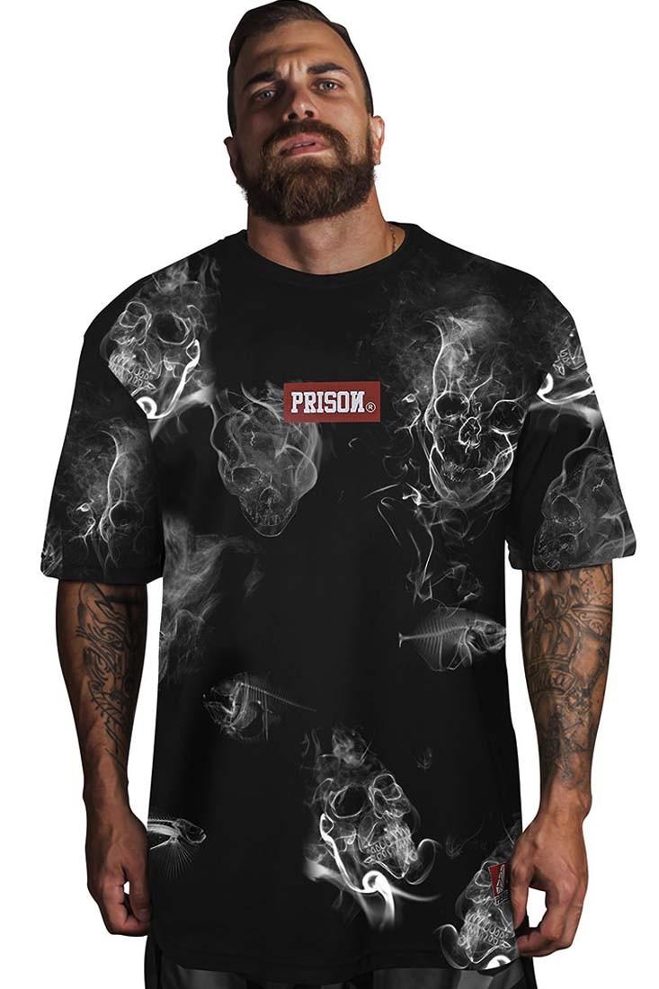 Camiseta Smoke Skull Prison Preta