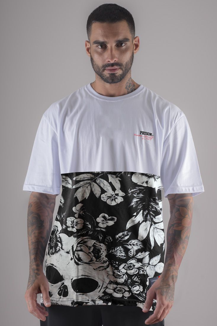 Camiseta  Prison Street Floral Branca