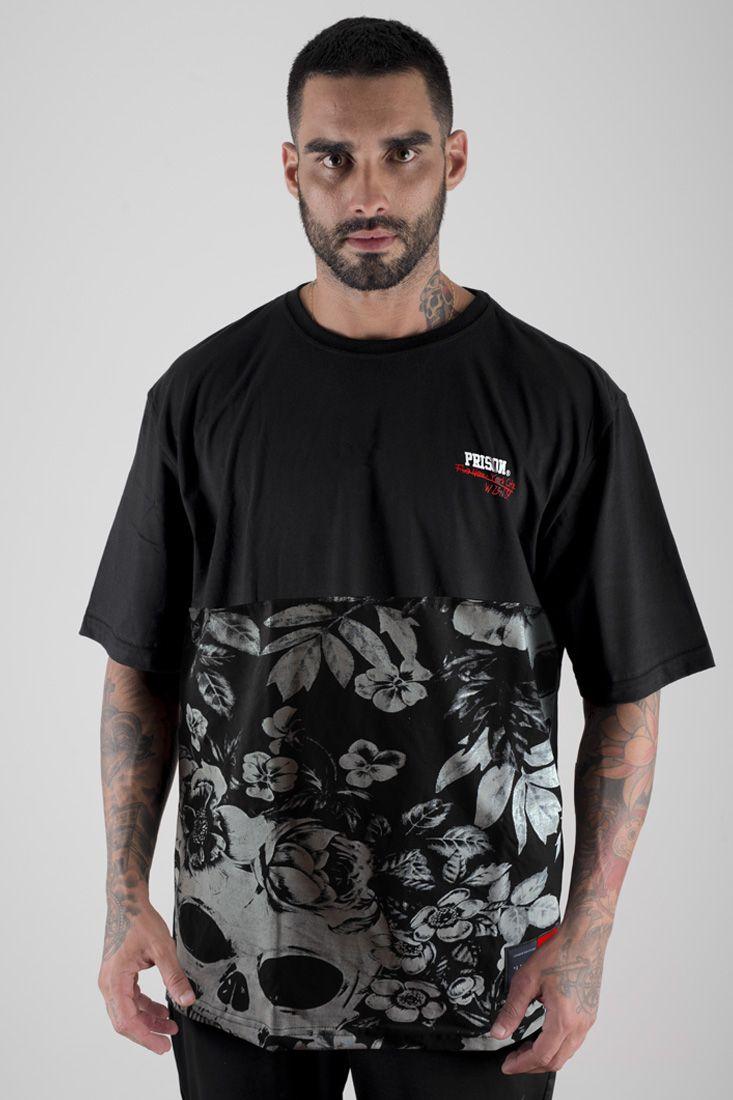 Camiseta Prison Street Floral  Preta