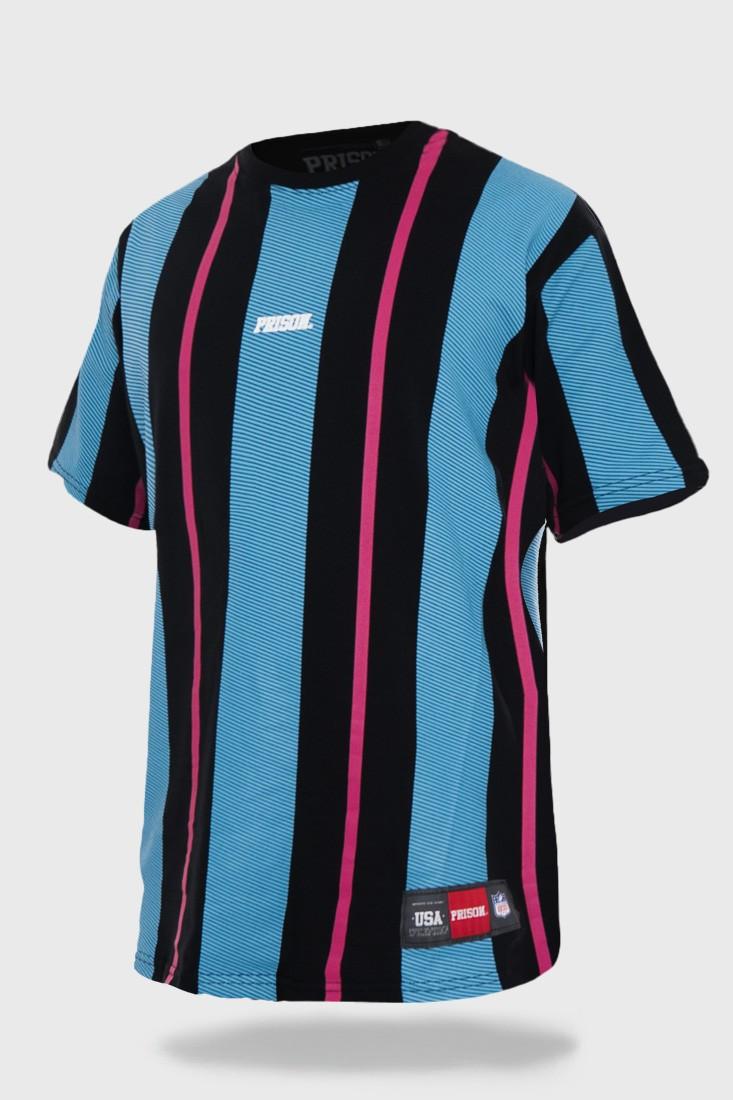 Camiseta Streetwear Listrada Prison Long Stripes Blue and Pink