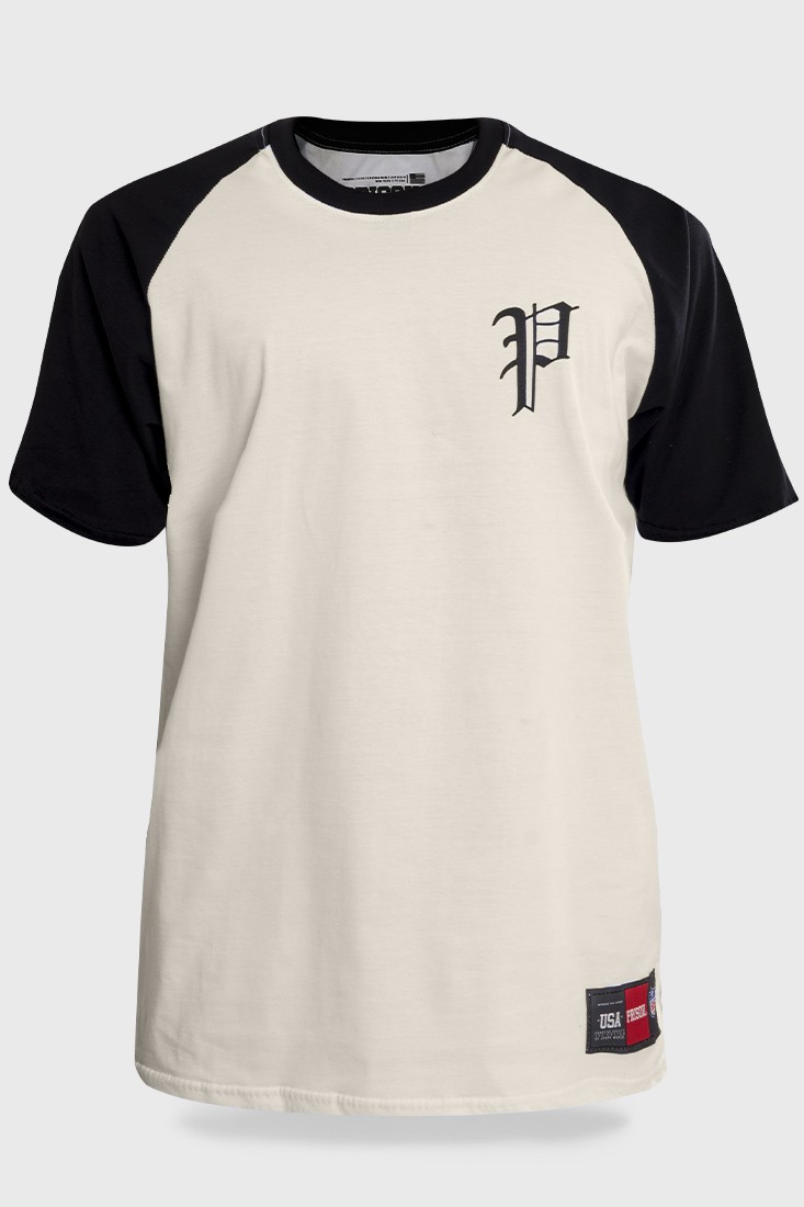 Camiseta Streetwear Prison Retro Raglan Off white