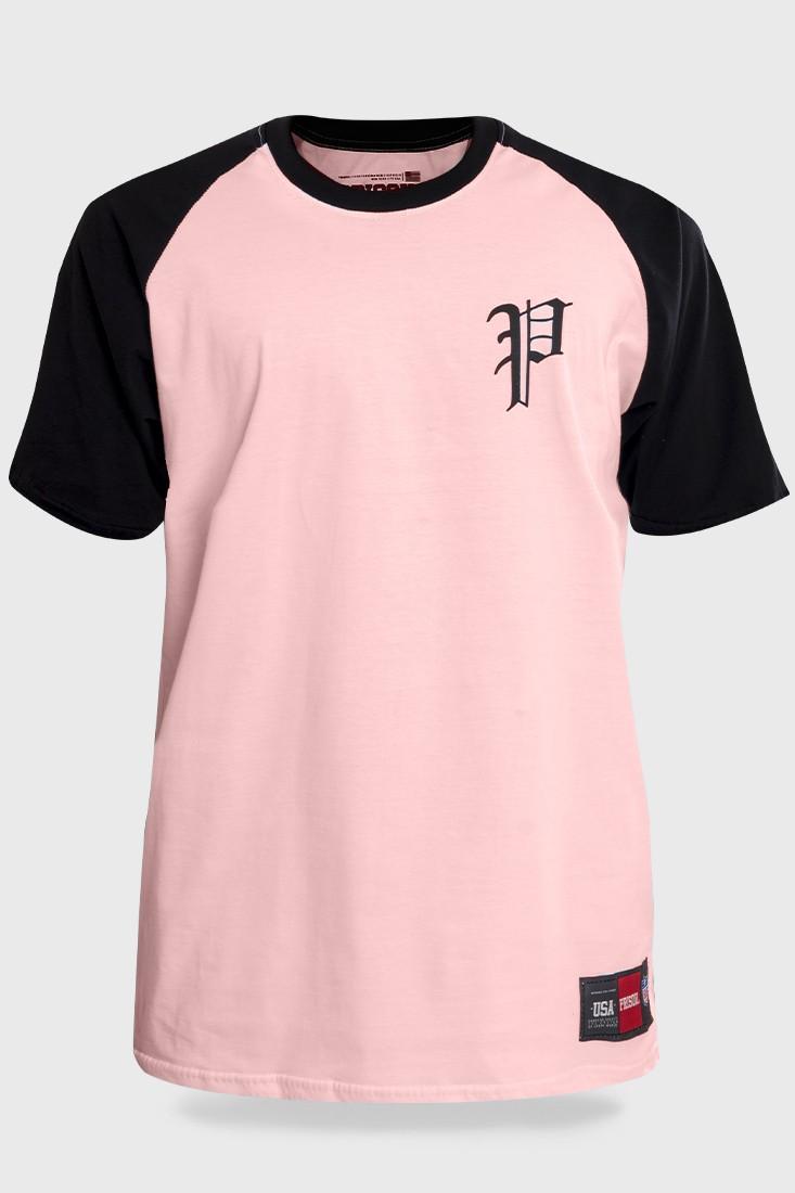 Camiseta Streetwear Prison Retro Raglan Rosa