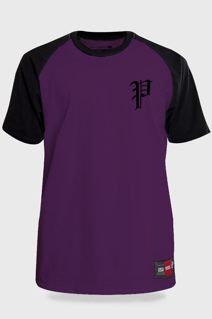 Camiseta Streetwear Prison Retro Raglan Roxo