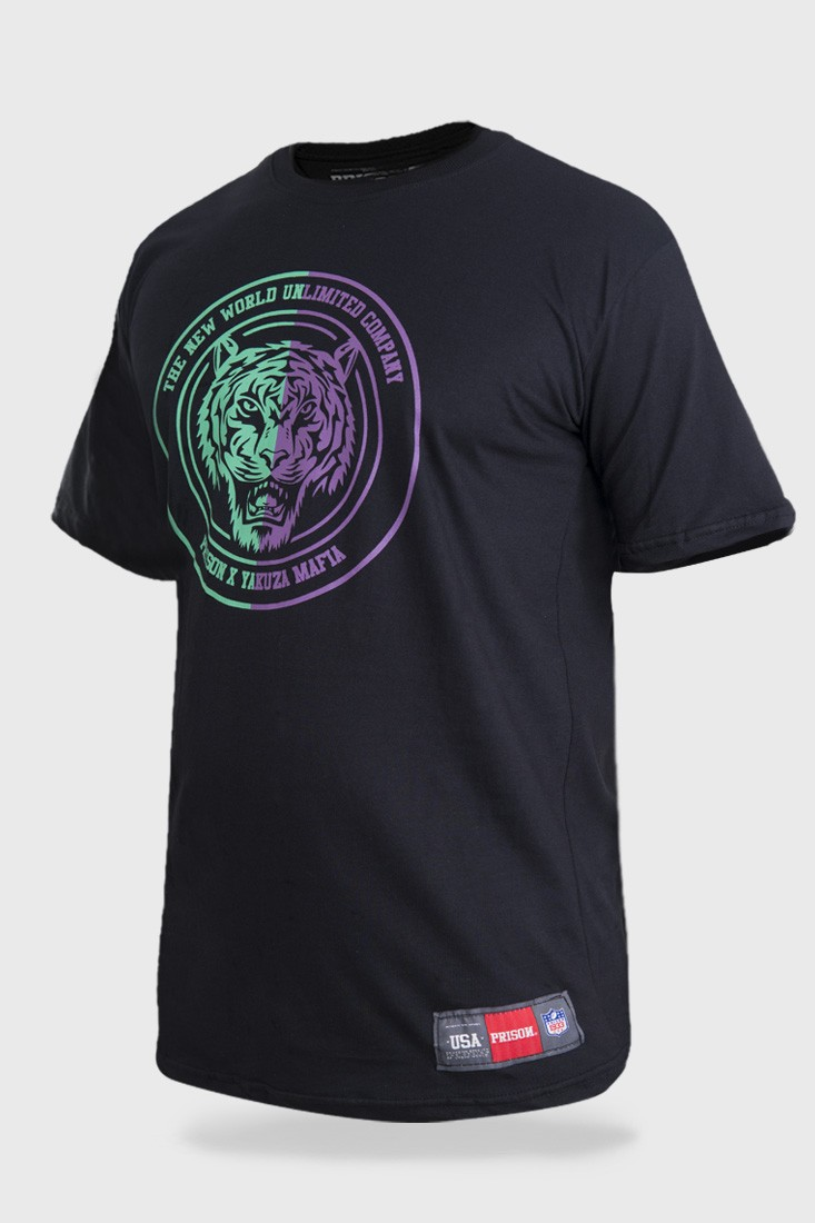 Camiseta Streetwear Prison Tiger Purple Green