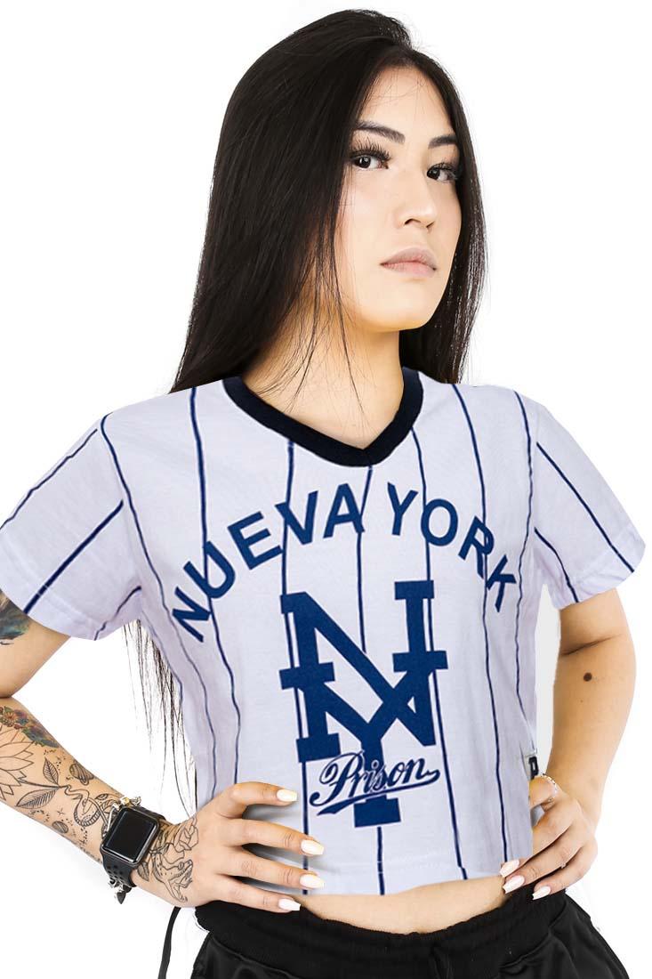 Cropped Baseball listrada Prison Nueva York Branca