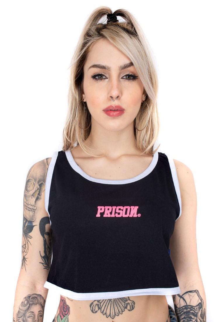 Cropped Regata Prison Feminino Preta  logomania Pink streetwear