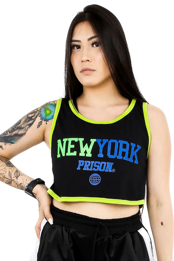 Regata Cropped Prison Feminina New York Colors Black n' Green