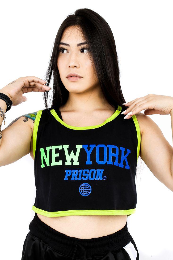 Regata Cropped Prison Feminina New York Preta