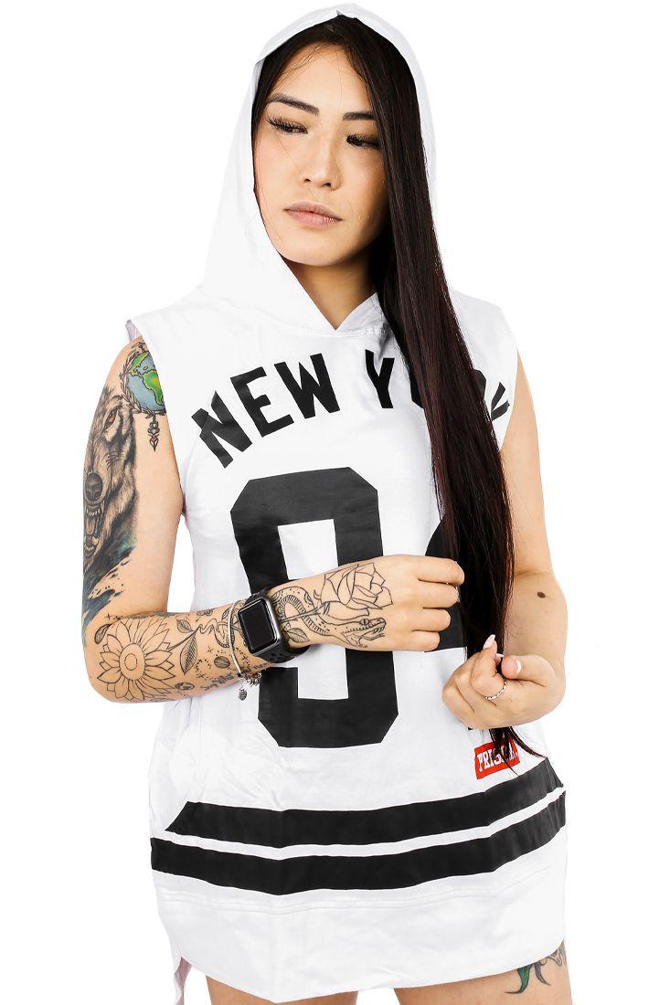 Regata Prison Feminina Com Capuz New York 94 Branca