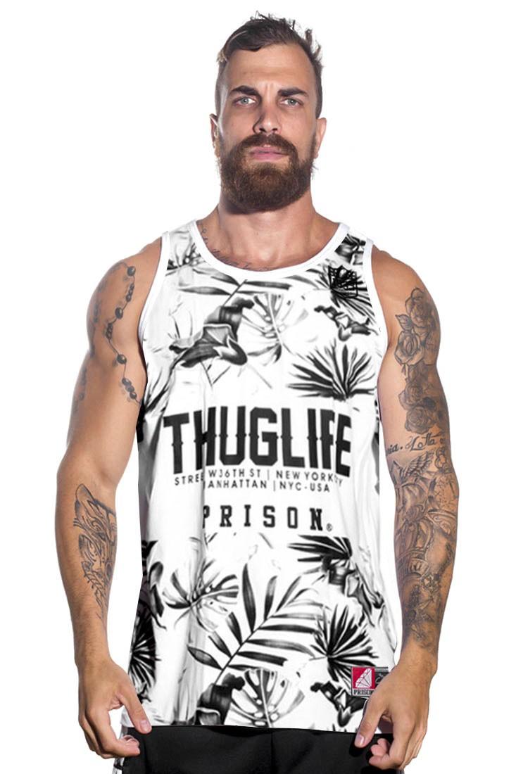 Regata Floral Prison Thuglife Branca