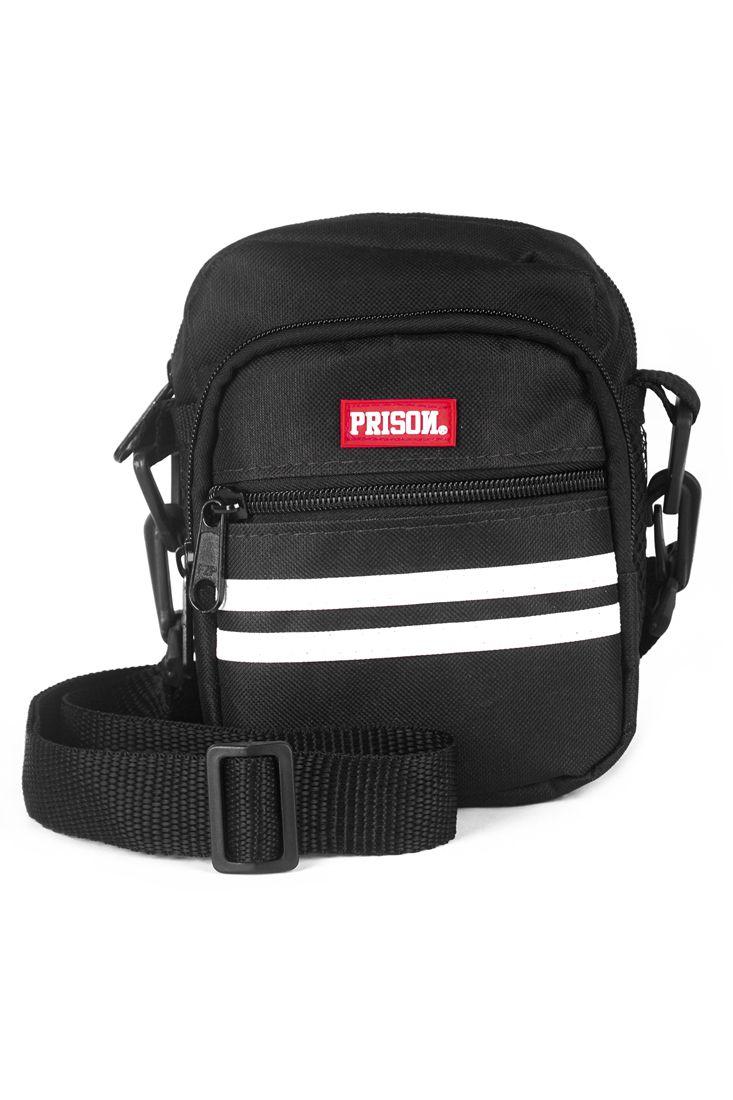 Shoulder Bag Prison White Stripes Preta