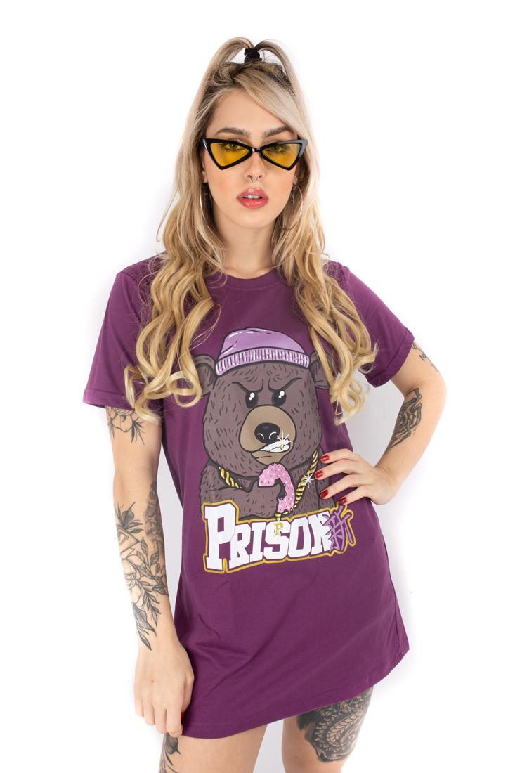 Vestido Streetwear Prison Feminino Gangster Bear  Roxo