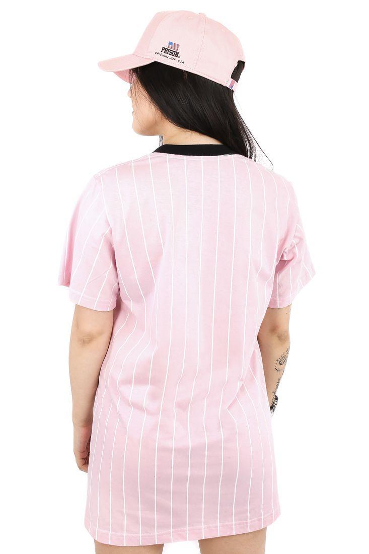 Vestido Streetwear Prison Feminino Japan Listrado Rosa