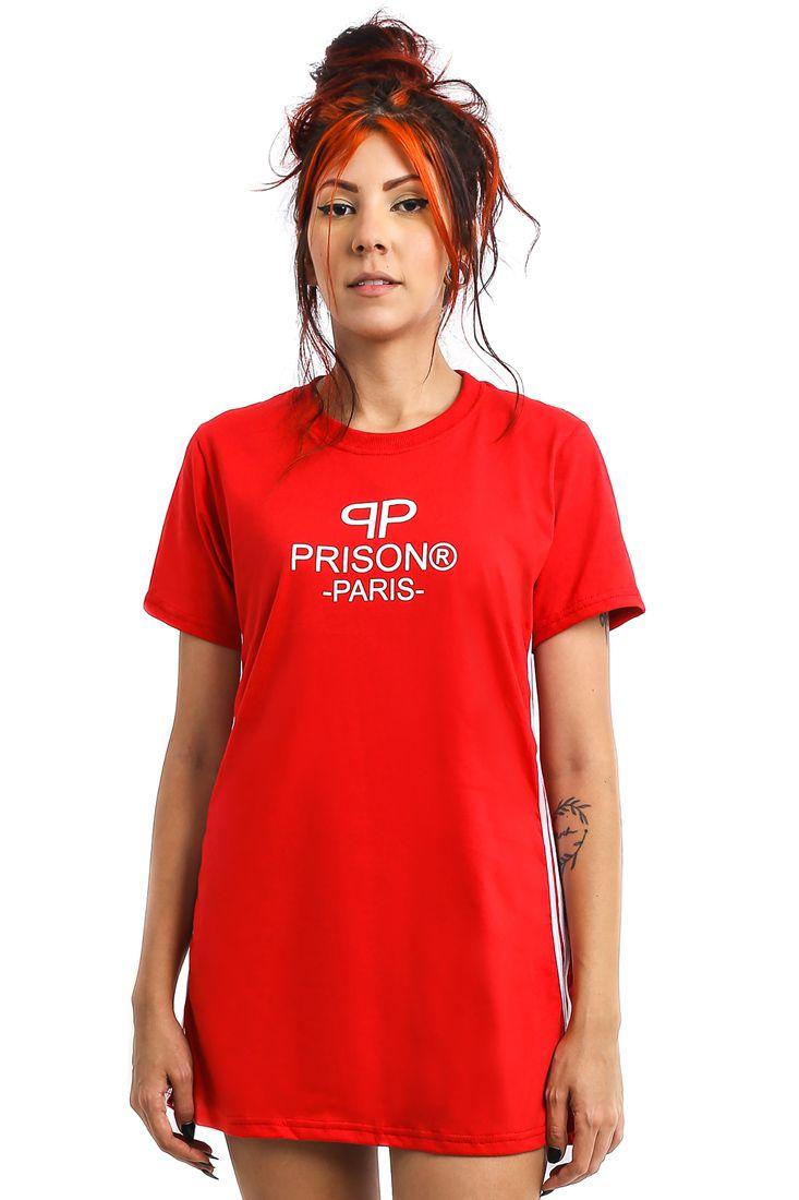 Vestido Streetwear Prison Feminino Paris Logo Vermelho
