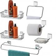 Acessórios Organizadores De Banheiro Conjunto 6 Peças Aço Inox