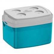 Caixa Térmica Tropical 12 Litros Com Alça e Porta Copos Numerado - Azul