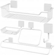 Conjunto 5 Peças Para Banheiro Fixação Parafuso Aço - Branco