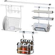 Conjunto Para Barra de Cozinha Suporte Porta Rolos Temperos