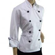Dolmã Chef  Feminino Branco 100% Algodão Brim Premium