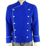 Dólmã chef de Cozinha Azul/branco Oxford