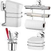 Kit Acessórios de Cozinha Porta Rolos 3 Em 1 Porta Talher