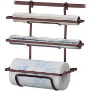 Suporte Porta Rolos Triplo Papel Toalha Alumínio e PVC Luxo