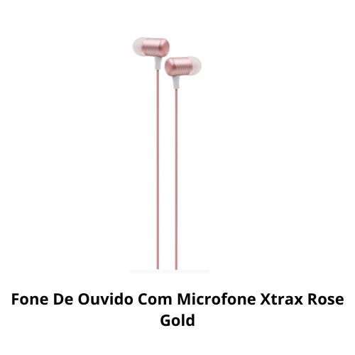 Fone de ouvido rosa Xtrax com microfone pronta entrega NF
