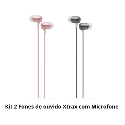 Kit 2 Fones de ouvido Xtrax com microfone garantia 3 anos NF