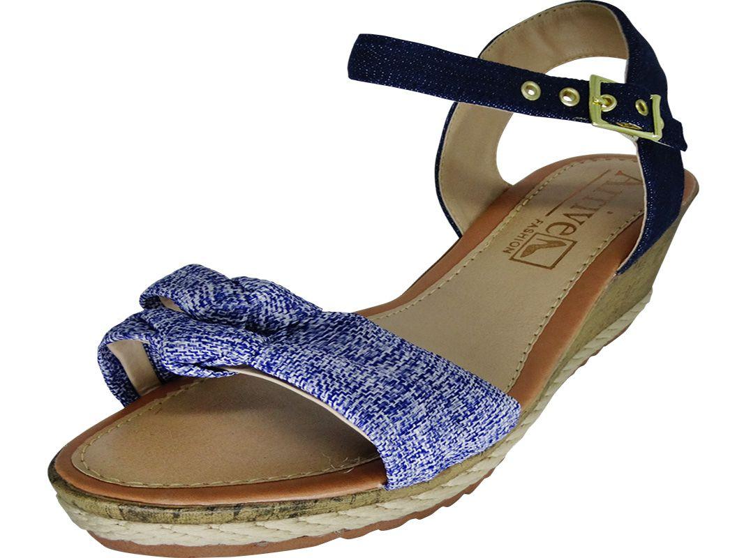 Sandália anabela jeans