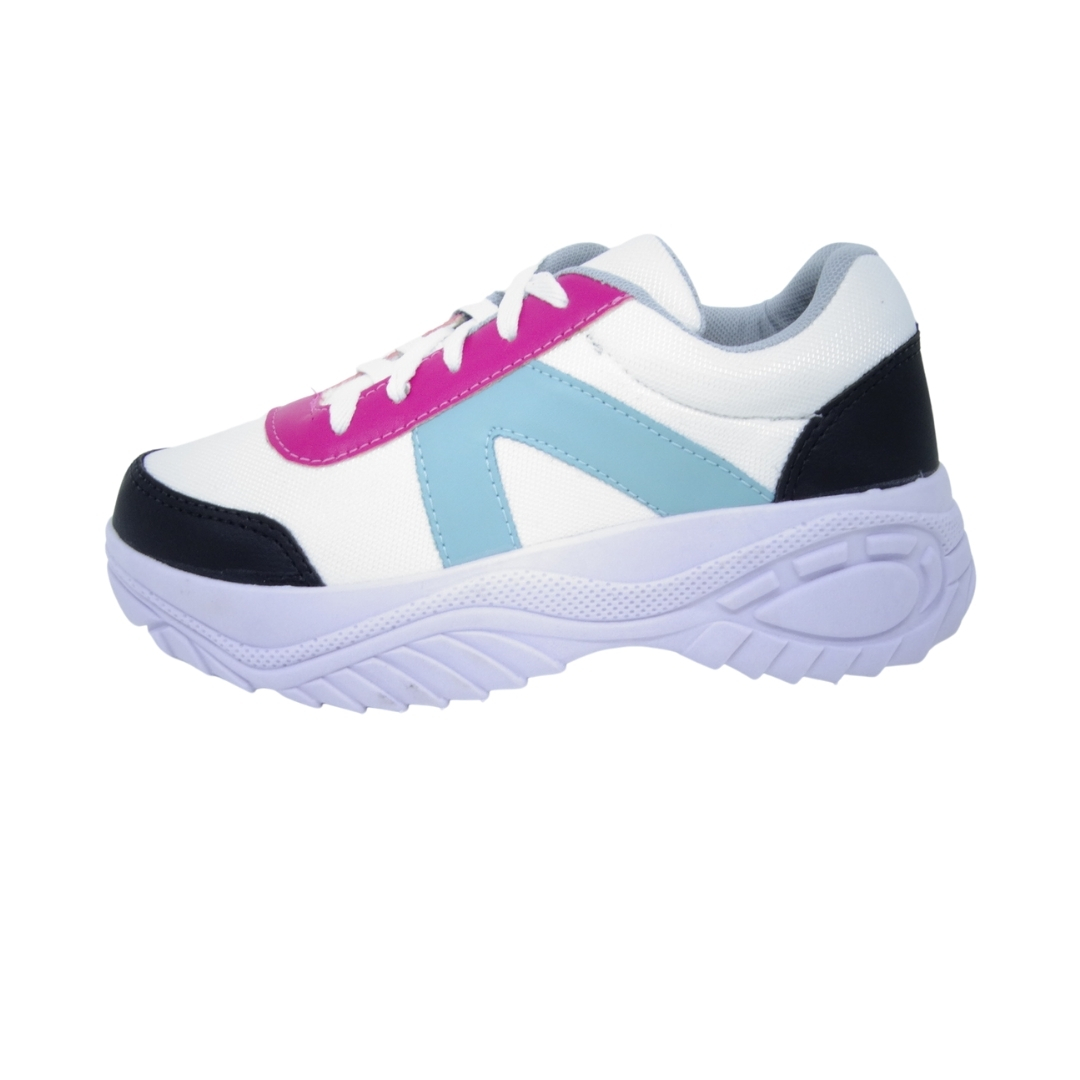 Tênis chunky feminino plataforma Rosa/Azul