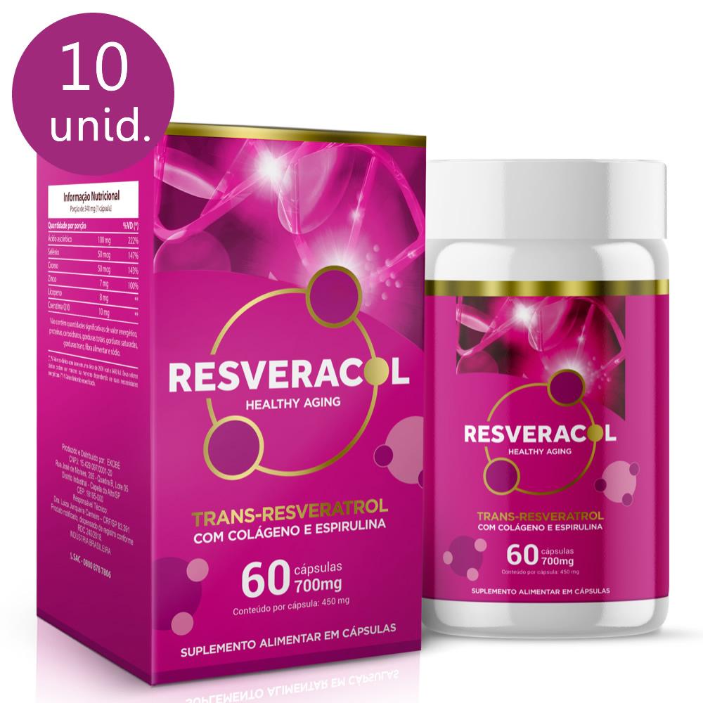 Resveracol 820mg 60 cápsulas (10 frascos)