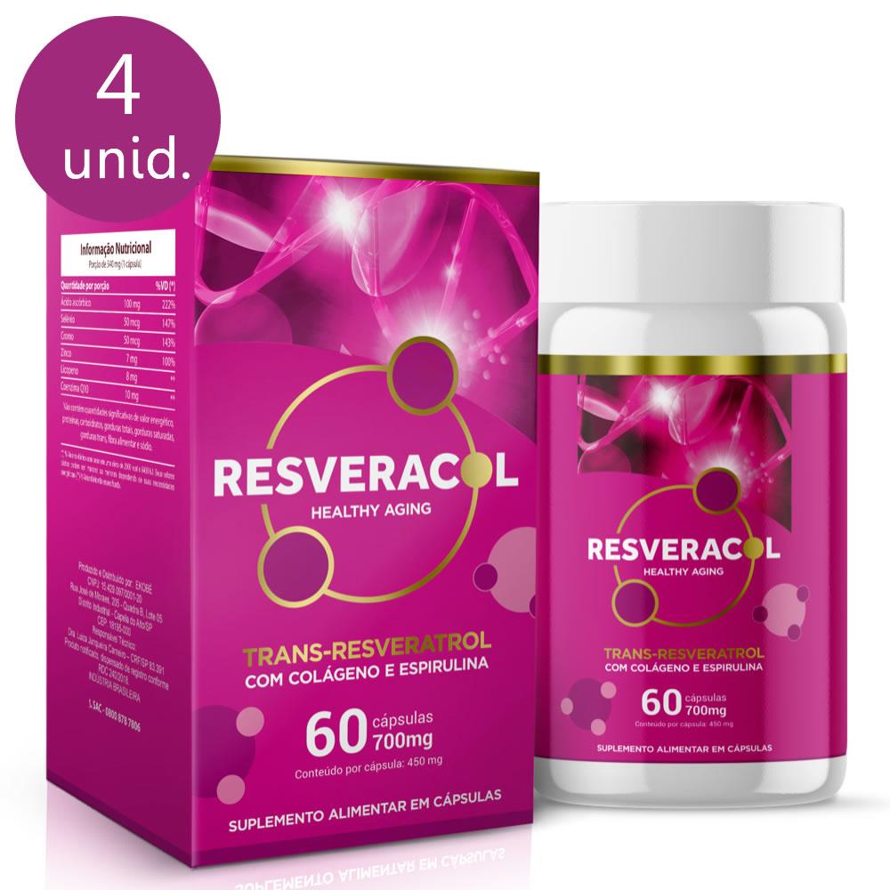 Resveracol 820mg 60 cápsulas (4 frascos)