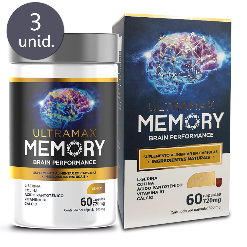 Ultramax Memory 720mg 60 cápsulas 3 frascos