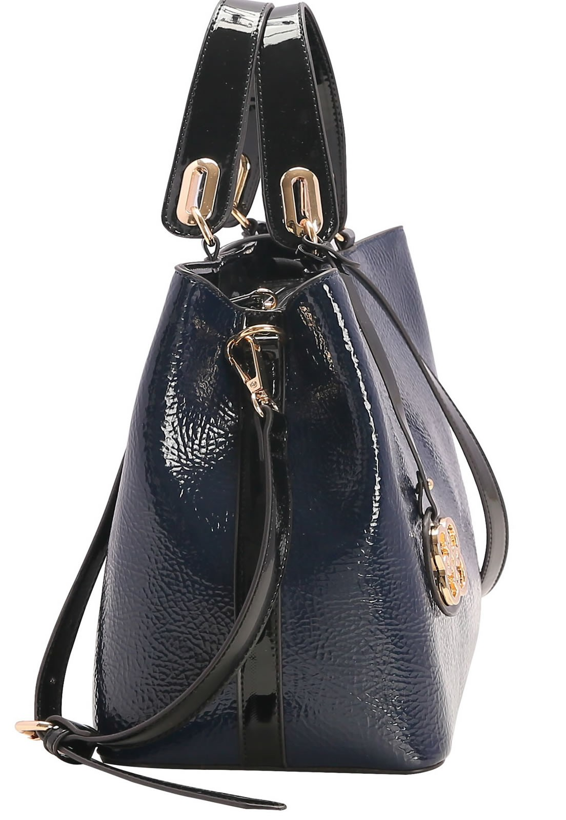 Bolsa feminina Chenson com alça de Mão Verniz Azul Escuro