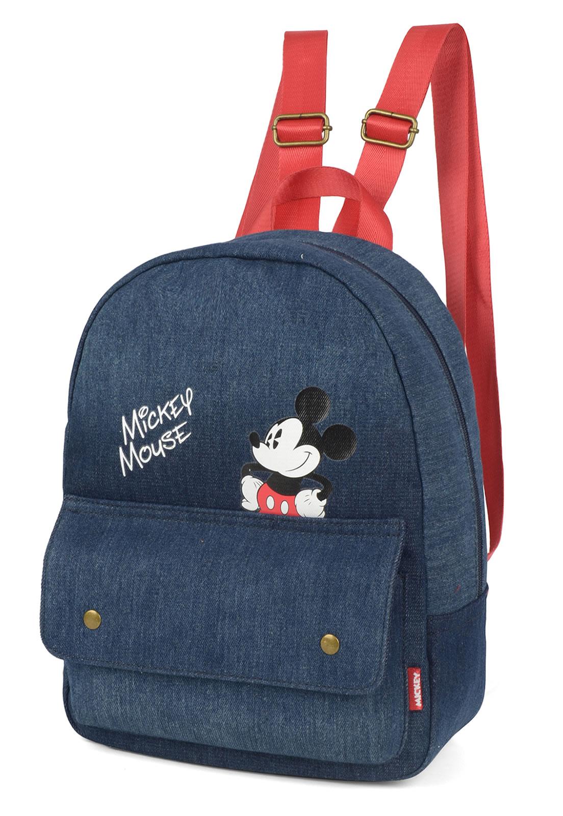 Bolsa Feminina de Costas Jeans Mickey Azul