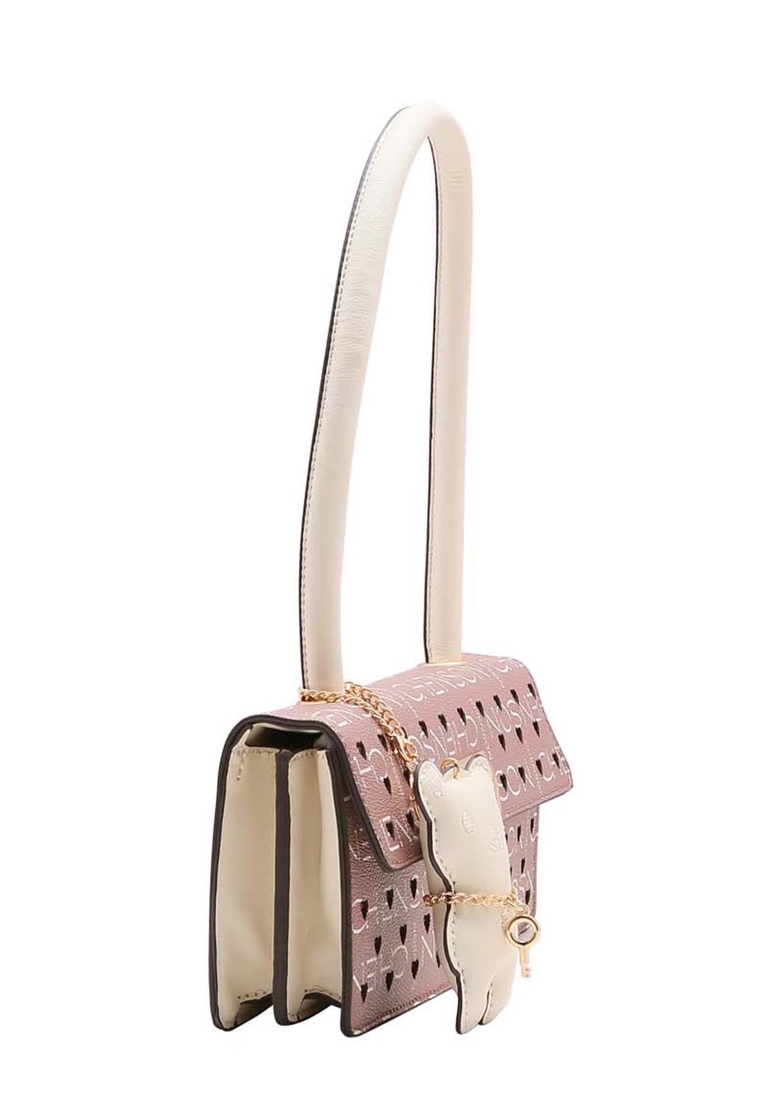 Bolsa Feminina de Mão e Ombro Glamour Manograma Cristal Chenson Bege